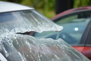 A broken windshield after a collision