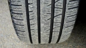 Tire wear from a poor wheel alignment