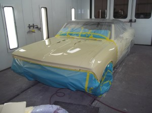 yellow car paint on classic '66 Chevelle