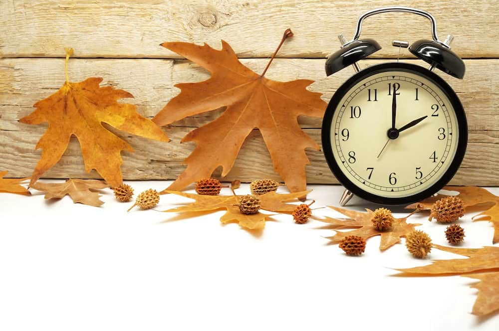 Fall Leaves Next to Clock