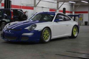 Porsche with a new paint job after a collision.