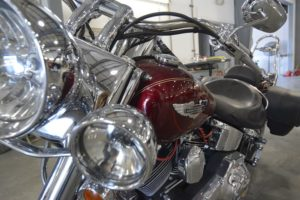An after look of motorcycle repairs done to a bike.